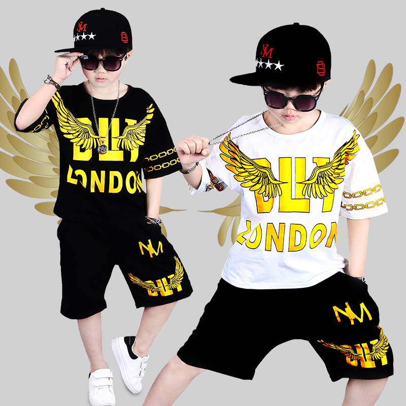 2018 Summer Boys Cool Gold Wings Pattern Hip-hop Clothes Set Children Cotton Short Sleeve Pullover Shirt+Short Pants Suit2018 Summer Boys Cool Gold Wings Pattern Hip-hop Clothes Set Children Cotton Short Sleeve Pullover Shirt+Short Pants Suit