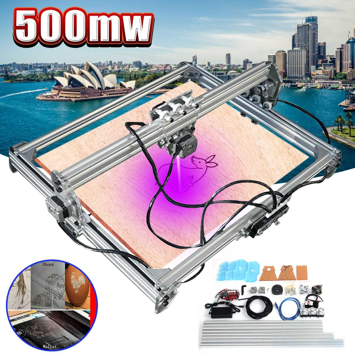 65x50cm DC 12V 500mW Laser Engraving Engraver Cutting DIY Desktop Mini Wood Cutter/Printer Marking Printer Logo Carving Machine