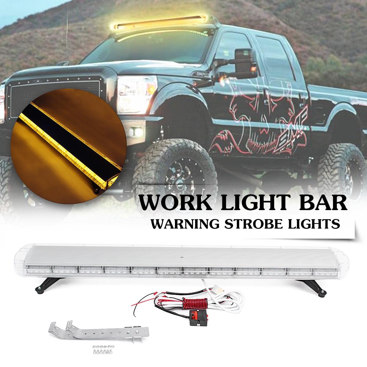 104 LED 55 pouces 150 W voiture stroboscope d'urgence ambre lumières Bar balise avertissement de danger Flash lampe couleur ambre 16 types clignotant Mode