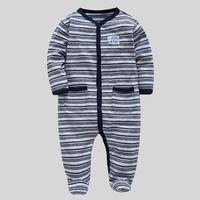 Spring Fashion Front Button Baby Rompers Stripe Warm Soft Infants Jumpsuit