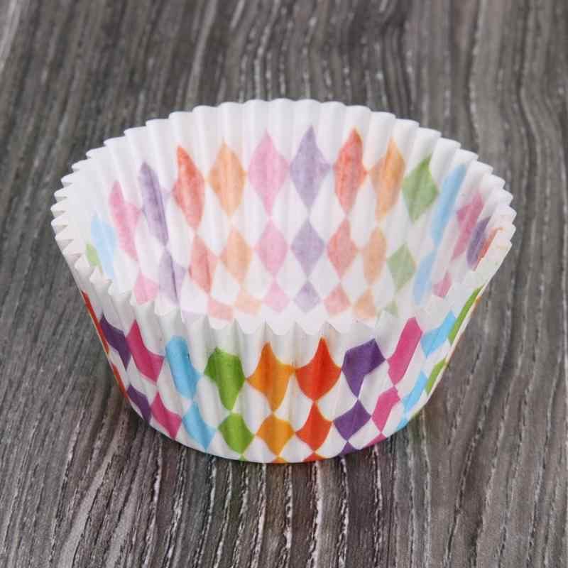 100 Buah Warna Pelangi Cupcake Liner Cupcake Kertas Cangkir Kue Kue Muffin Cetakan Kecil Kotak Kue Piala Tray Dekorasi alat