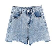 2019 Summer Women High Waist Jeans Shorts Streetwear Vintage Cotton Blue Sexy Female Denim