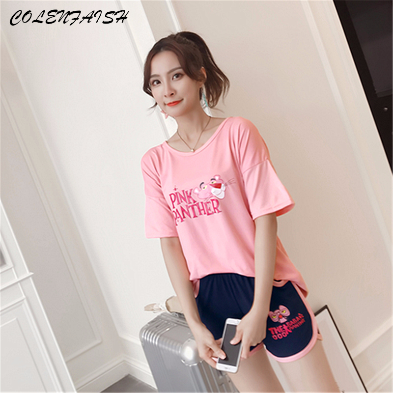 Summer Women's Pajamas Short Cartoon Letter Pijama Mujer Home Suit Cotton Sleepwear Leisure Sport Femme Home Clothes For Women