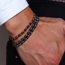 Hematite Bracelet Stainless Steel Beads Chain Bangle For Women Men Handmade Braided Adjustable Couples Stacking Unisex Jewelry(China)