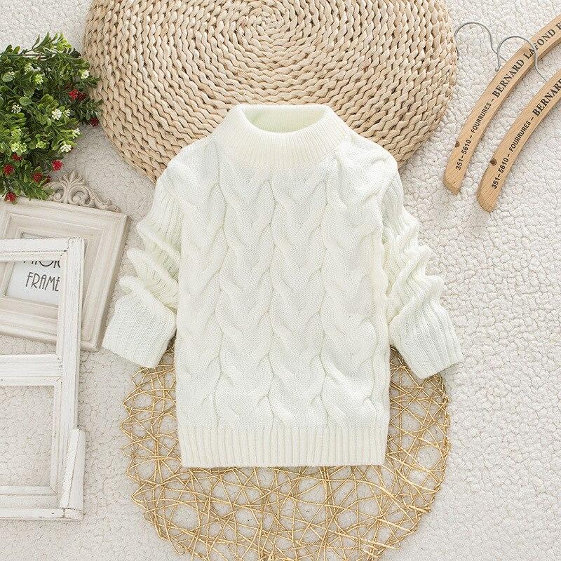 Dziewczynek sweter jesień topy z dzianiny niemowlę zimowe ubrania z golfem chłopcy bawełna ciepły sweter z okrągłym dekoltem 1-2 lata