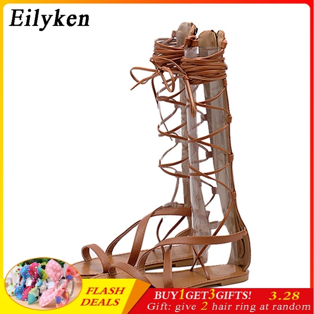 fe7f29a715d47 Eilyken Summer Women Sandals Strappy Open Toe Knee High Gladiator Sandals  Boots Flat Casual Lace-
