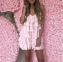 Ruffle Short Party Dress Sexy Summer Loose Female Mini Beach Women V Neck Sundress