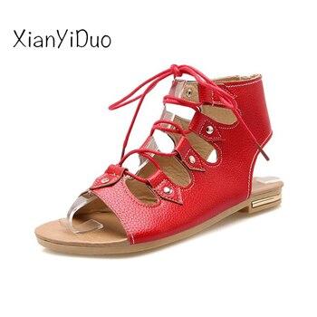 35c6acd01d Xianyiduo 2019 de verano zapatos de mujer zapatos planos de sandalias de  tacón Beige rojo Roma