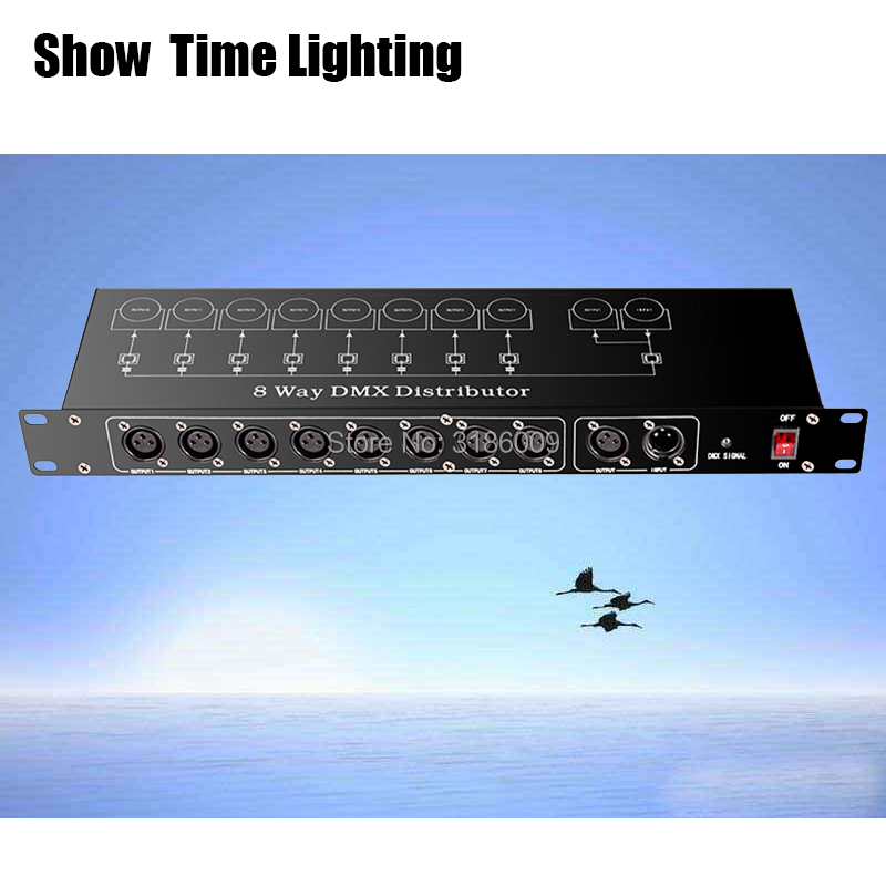 Good quality dmx Controller Splitter stage Light Signal Amplifier Splitter 8 way DMX Distributor for stage Equipment Show Time Stage Lighting Effect     - title=