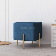 Flannelette Fabric Nordic Style modern fancy shoe long chair seat Ottoman bench stool for bedroom with Iron legs