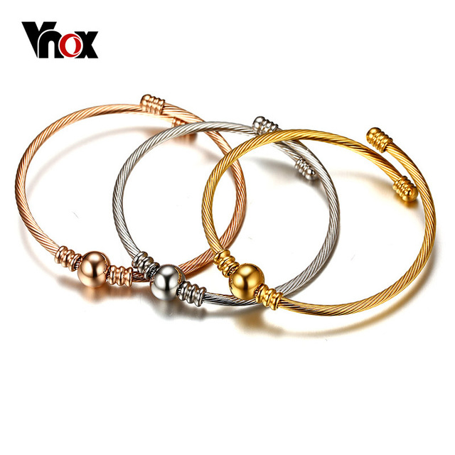af157db61d4 Vnox Trendy Stainless Steel Triple Three Stackable Cable Wire Twisted Cuff  Bangle Bracelets Set for Women