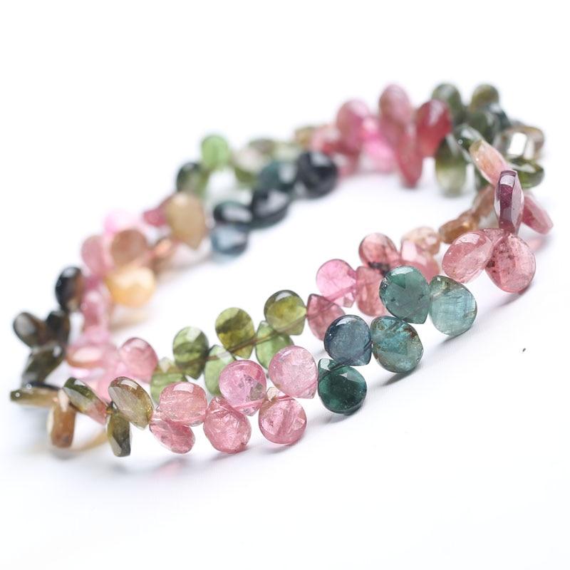 Tourmaline goutte à facettes 5-10mm multicolore AA collier 16 pouces en gros perles nature FPPJ femme 2018 - 3