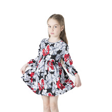 Girls dress long sleeve kids spring and autumn 2019 twill cotton printed flower childrens clothing
