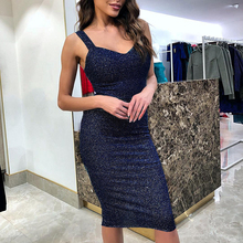 summer Sexy Women retro shining hip-wrapped midi calf dress Glitter Sleeveless Casual solid Cocktail Party Slim Ladies Dresses