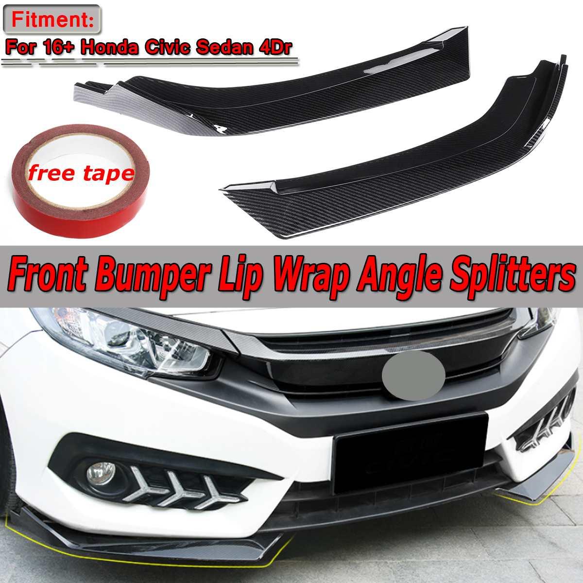 Высокое качество 2xcar Универсальный передний бампер для губ разветвитель обмотки угол рассеиватель Spolier Guard для Honda Для Civic Sedan 4Dr 2016 2018