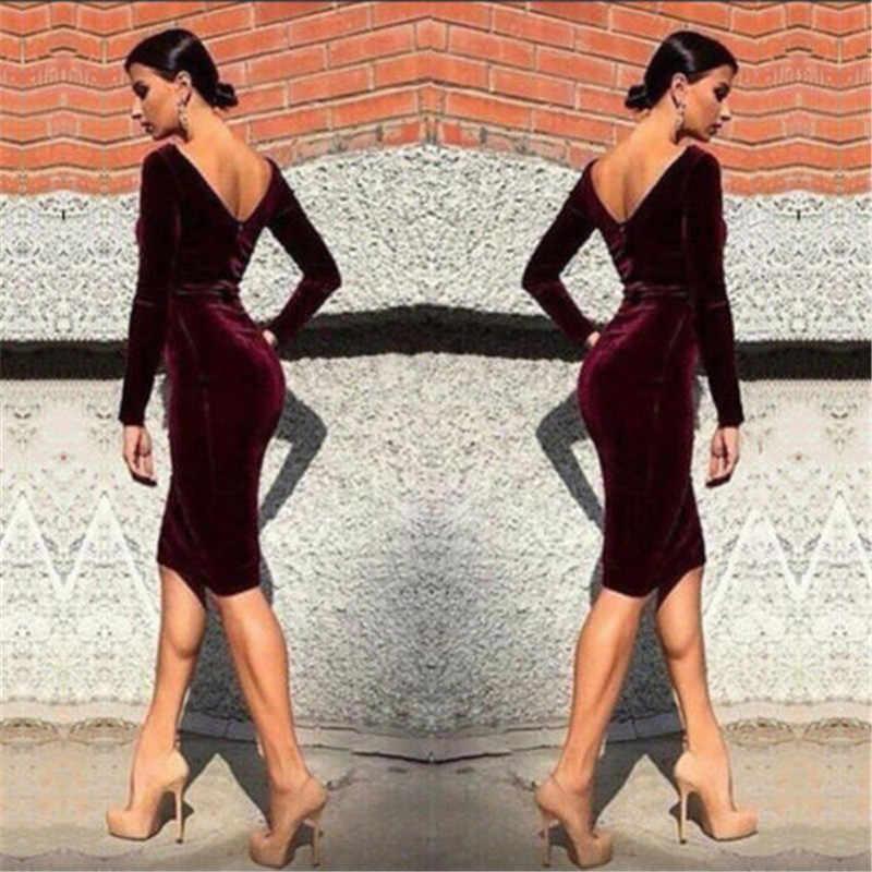 春秋の女性包帯ボディコンドレスカジュアル長袖 O ネックイブニングセクシーなベルベットのドレスサンドレス服衣類