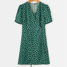 Hot Sale Summer Vintage Floral Print Green Midi Dress Casual Women Short Sleeve Holiday Dress Elegant Wrap Lace Up A Line Dress lace up stripes a line midi dress