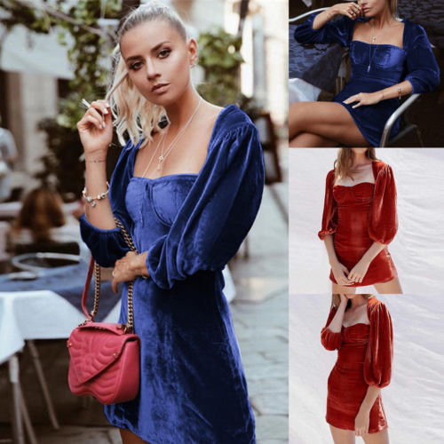 Women's Corduroy Lantern Sleeve Solid Bodycon Evening Party Min Dress Clubwear