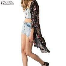 2019 Summer ZANZEA Women Floral Print Kimono Cardigan Harajuku Cover Up Chiffon Blouse Tunic Tops Outwear Ladies Shirt Blusas недорого