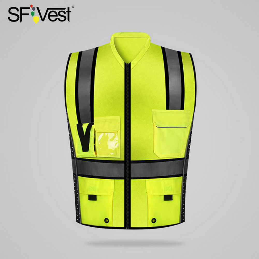 SFVest High Visibility Reflective Safety Vest Reflective Vest Multi Pockets Workwear Security Working Clothes Safety Waistcoat