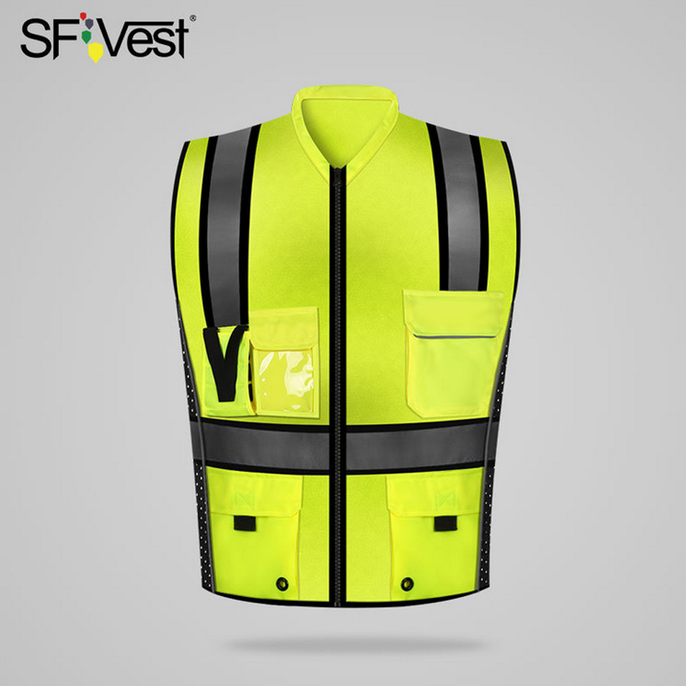 SFVest High Visibility Reflective Safety Vest Reflective Vest Multi Pockets Workwear Security Working Clothes Safety WaistcoatSafety Clothing   -