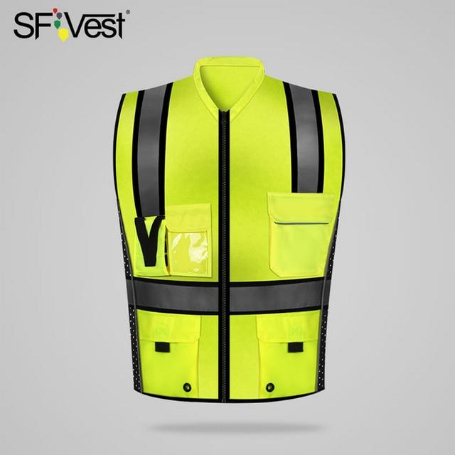 SFVest Hoge Zichtbaarheid Reflecterende Veiligheidsvest Reflecterende Vest Multi Pockets Werkkleding Security Werken Kleding Veiligheid Vest