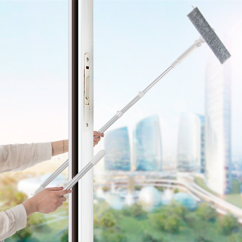 Window Cleaning Brushes Long Handle Window Cleaner Glass Squeegee Telescopic Rod Rotating Head With Cleaning Cloth Rubber wiper