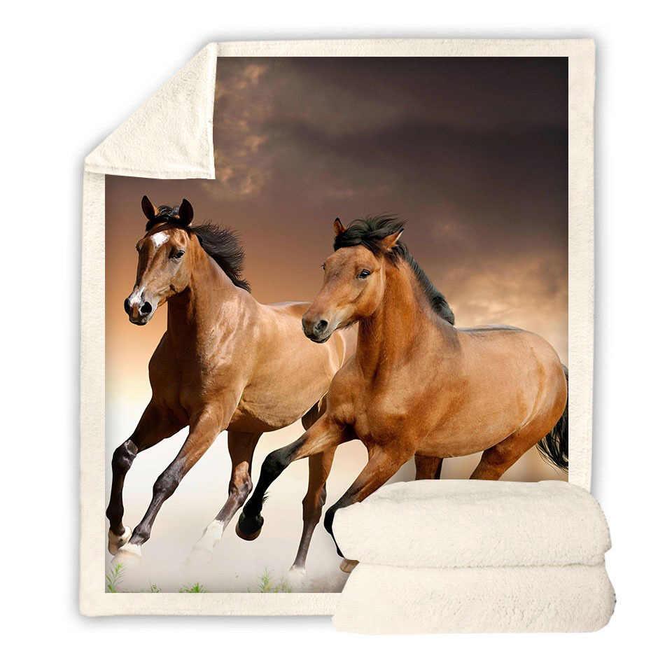 ランニングブラウン馬 3d プリントベッドカバーシェルパブランケットソファカバー旅行ユース寝具出口ベルベット豪華なスローフリース毛布