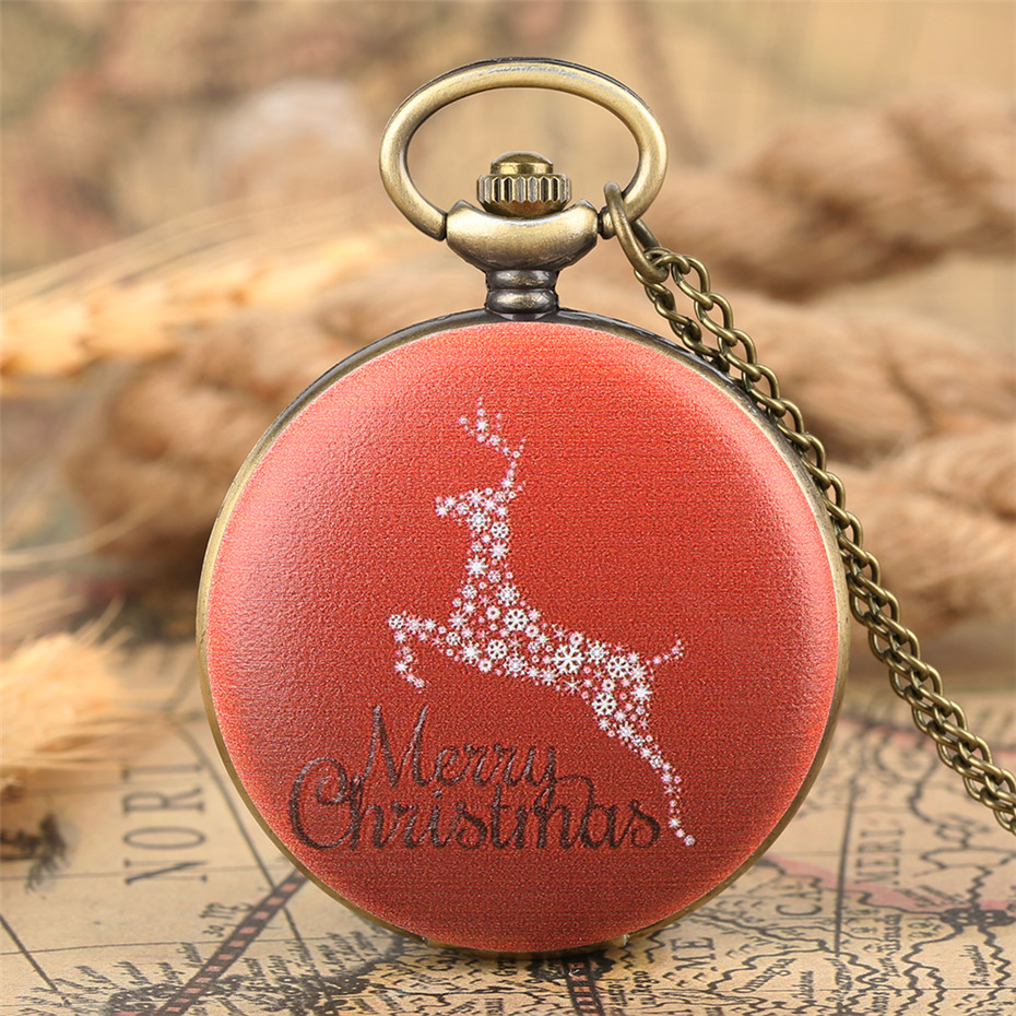 Christmas Deer Display Quartz Pendant Watch Bronze Full Hunter Pocket Watch Best Gifts For Men Women Children New 2019