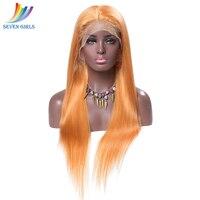 Sevengirls бесклеевой прямо оранжевый перуанский Синтетические волосы на кружеве парики человеческих волос с ребенком волос Девы человеческих