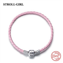 Strollgirl Original Design 100% 925 Sterling Silver Leather rope Chain DIY Charm Authentic silver Bracelet making for Women Gift недорого