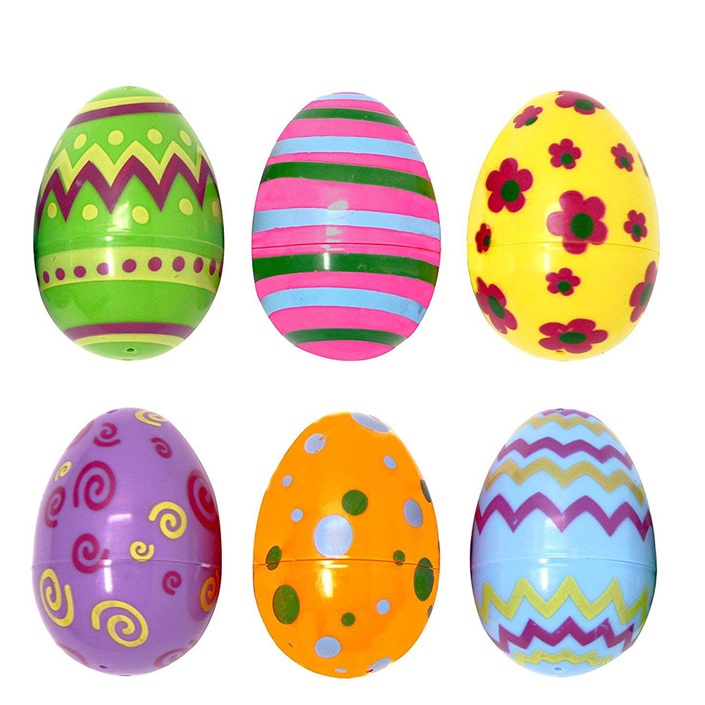 24 PCS Children Printed Pastel Plastic Easter Eggs Assorted Eggs Hunt Party Giveaways Rewards Children Handmade DIY Educational