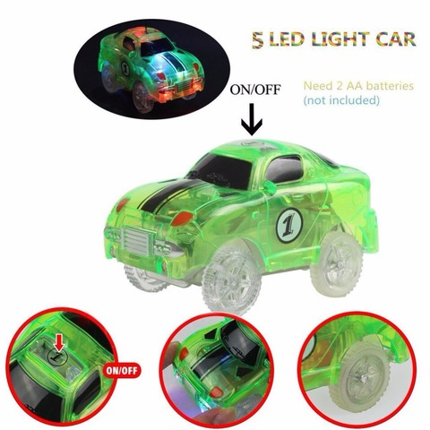 LED Light up Cars for Tracks Electronics Car Toys With Flashing Lights Fancy DIY Toy Cars For Kid Tracks parts Car for Children Multan