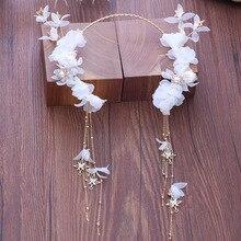 new flower white headpiece immortals tassel brides hairband wedding hair accessories wholesale