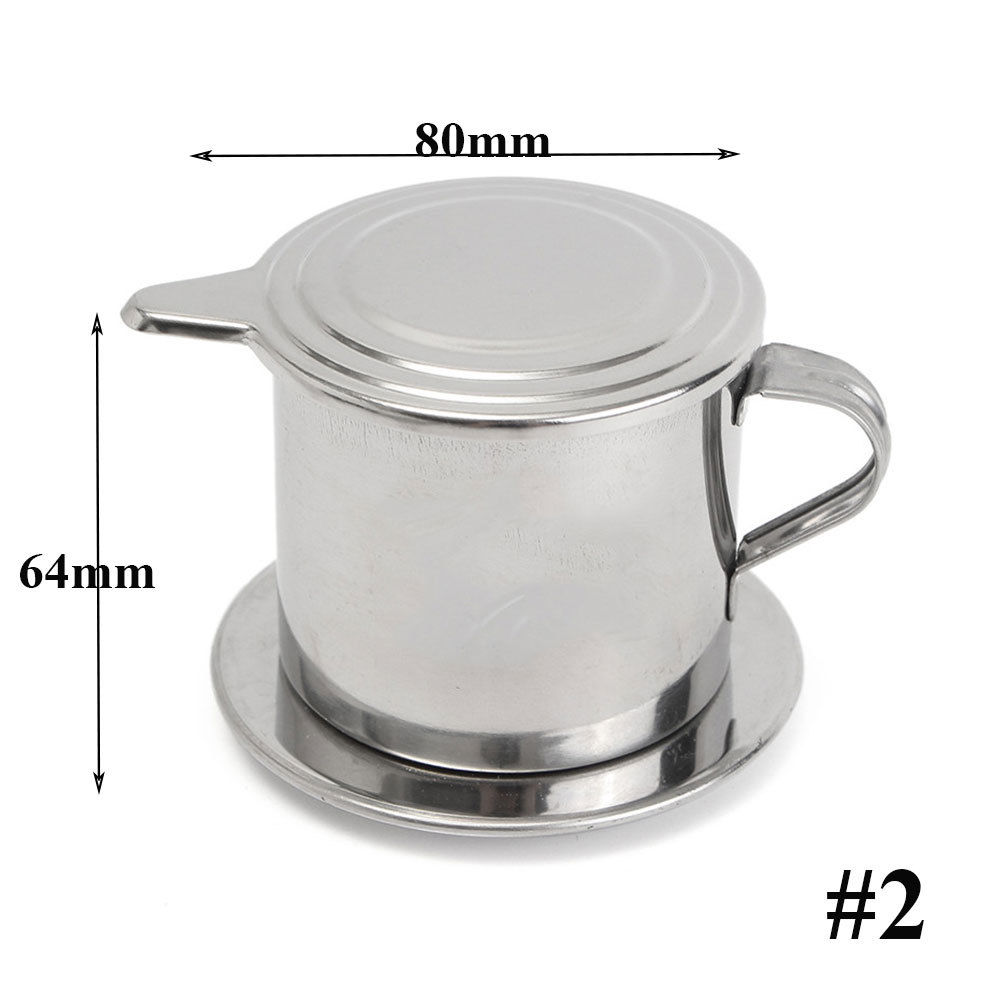Silver Coffee Pot Stainless Steel Vietnam Vietnamese 50/100ml Coffee Pot Drip Filter Coffee Maker Home Ofiice Cafe Coffee Maker