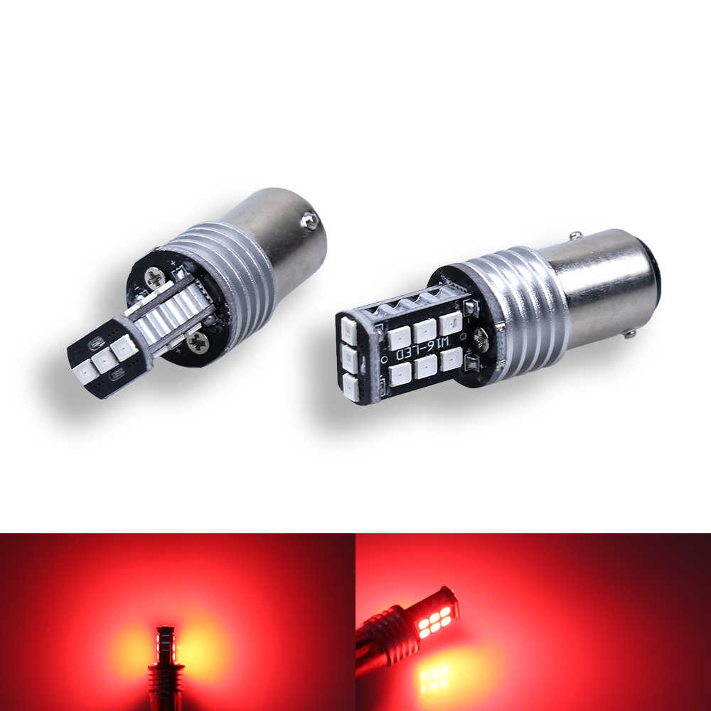 1PCS Car DRL 1157 BAY15D P21/5W 15 SMD 2835 LED Turn Signal Tail Bulbs Lights Brake Lamps Auto Daytime Running Lights White