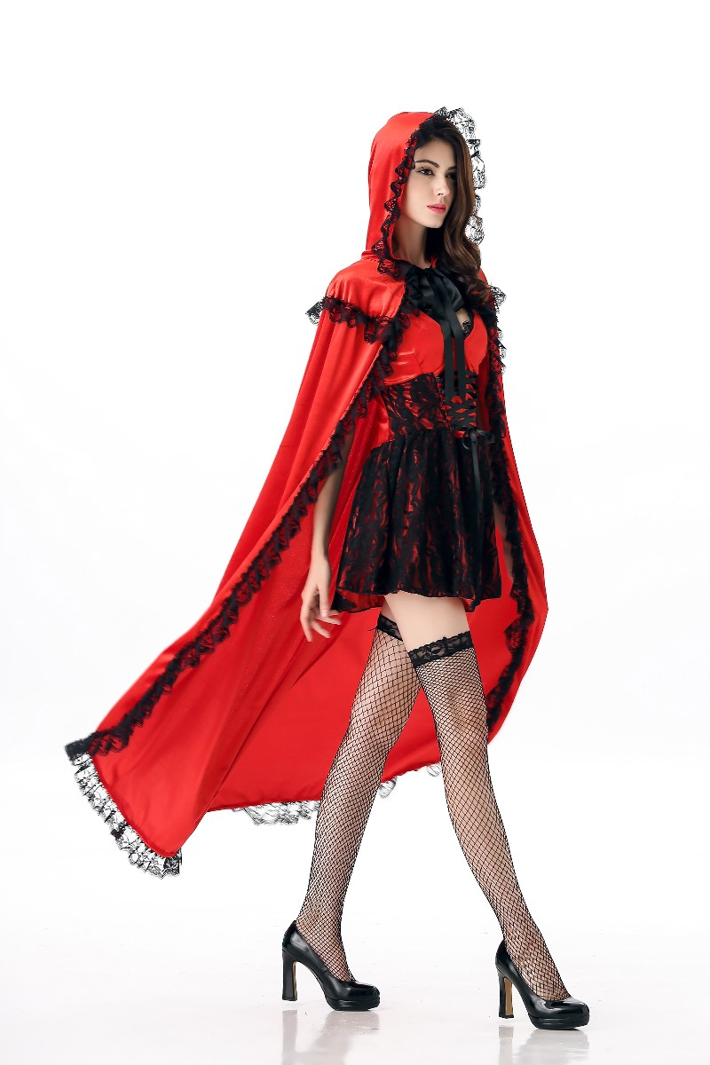Fairy Tales Hooded Cloak Little Red Riding Hood Costume Halloween Carnival Party Fancy Dress Cosplay Uniform