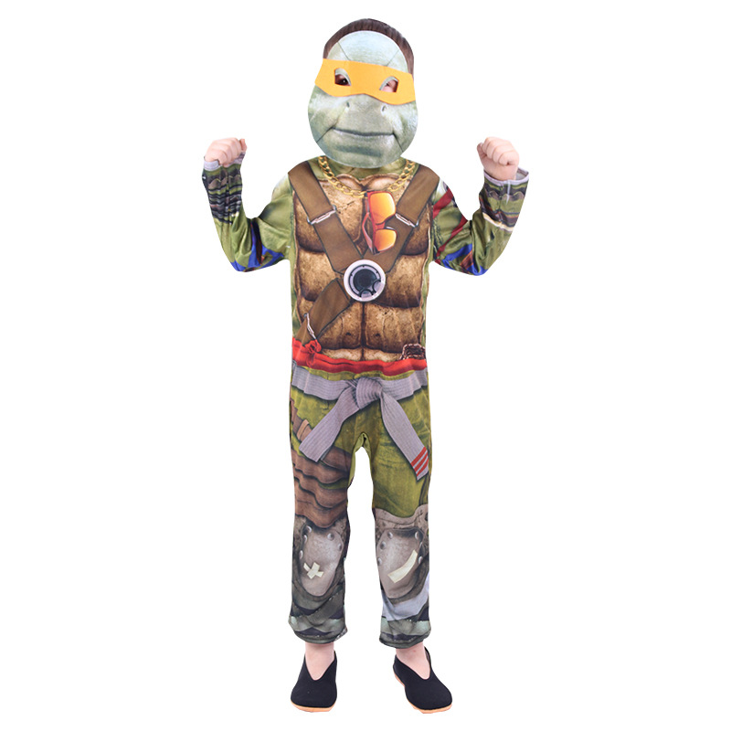 New Kids Ninja Turtle Costume Cosplay Halloween Party Performance Children Jumpsuit With Mask