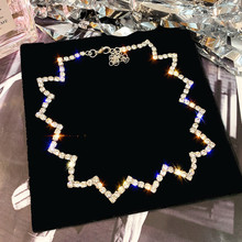 FYUAN Full Rhinestone Choker Necklaces for Women 2019 Bijoux Silver Color Ripple Crystal Necklaces Statement Jewelry Party Gifts fyuan shiny full rhinestone choker necklaces for women 2019 bijoux silver color crystal necklaces statement jewelry party gifts