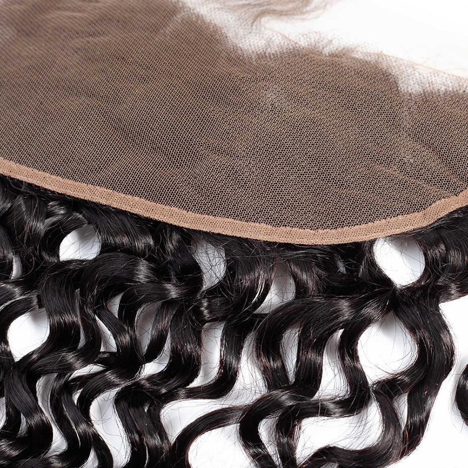 """Bling pelo 13x4 de la onda de agua Frontal de encaje de cierre con el pelo del bebé de cabello humano Remy brasileño cierre de la parte libre color Natural 8 """"-22"""""""