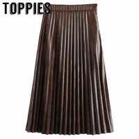 2019 faldas plisadas con estampado de serpiente para mujer falda de cuero de imitación de cintura alta moda Streetwear falda larga