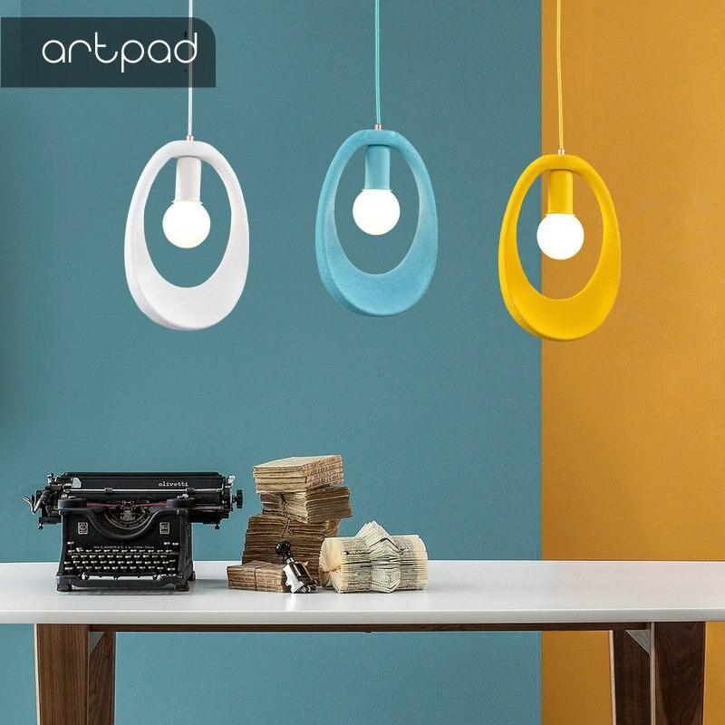 Artpad nordique minimalisme salle à manger suspension lumières ovales creux Design LED suspension lampe Bar hôtel luminaires ampoule incluse