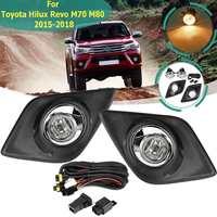 For Toyota Hilux Revo M70 M80 2015 2016 2017 2018 Fog Light Lamp With Bulb Harness Switch Chrome Trim Front Bumper Work Light