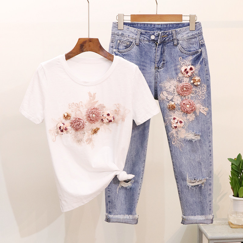 Pink Flower Sequins Pearls Women Jeans Set Short Sleeve T Shirt Tops And Ankle Denim Pants