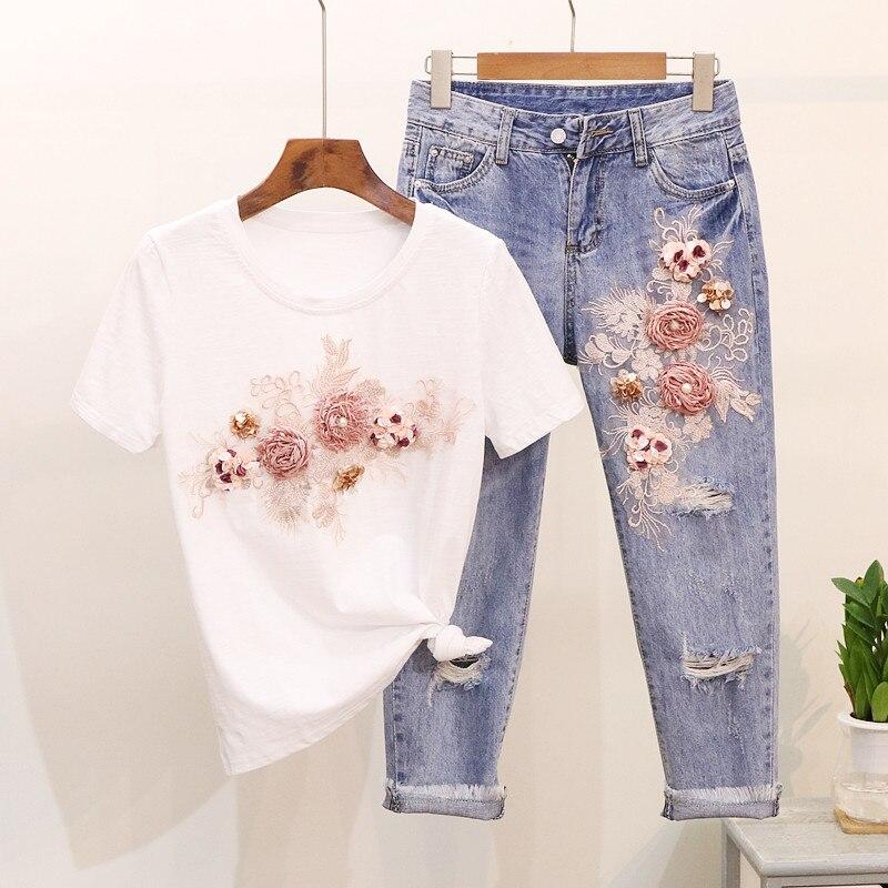 Różowy kwiat cekiny perły kobiety dżinsy zestaw z krótkim rękawem T Shirt topy i kostki spodnie jeansowe strój w Zestawy damskie od Odzież damska na AliExpress - 11.11_Double 11Singles' Day 1