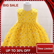 Baby Girl Dress  Cute Toddler Infant Princess Dress 1st Birthday Sequins Newborn Party Wedding Dresses Baby baby dress toddler girl princess wedding dress first birthday newborn party dresses lace baby christening infant clothes