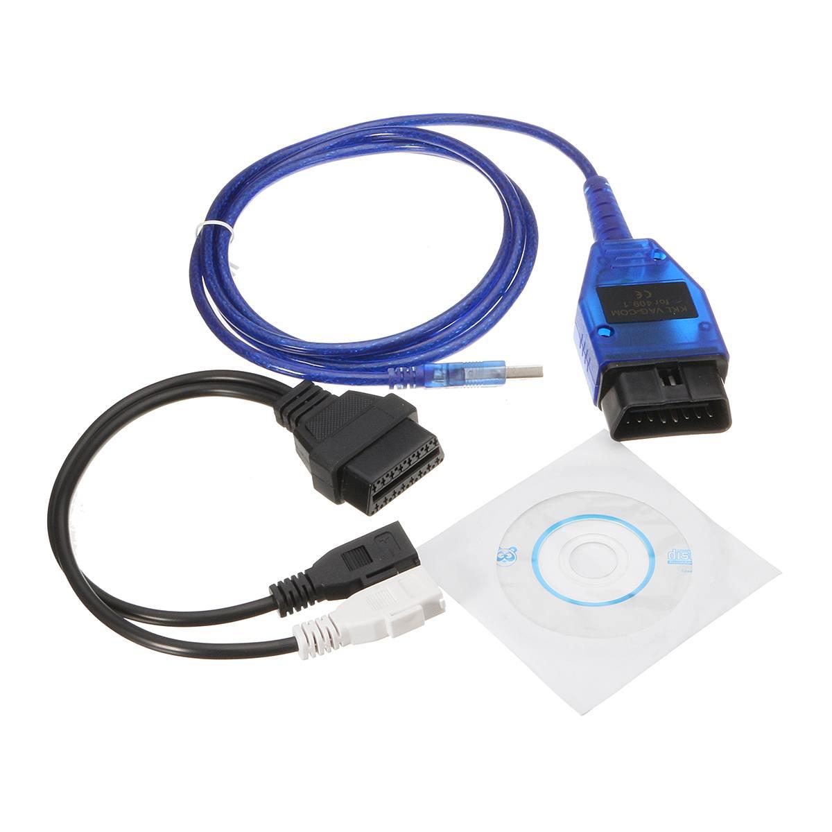 2018 VAG-COM KKL OBD2 USB Kabel FTDI FT232 Chip + 2x2 Adapter Kabel für VCDS Lite Scanner Scan tool Interface