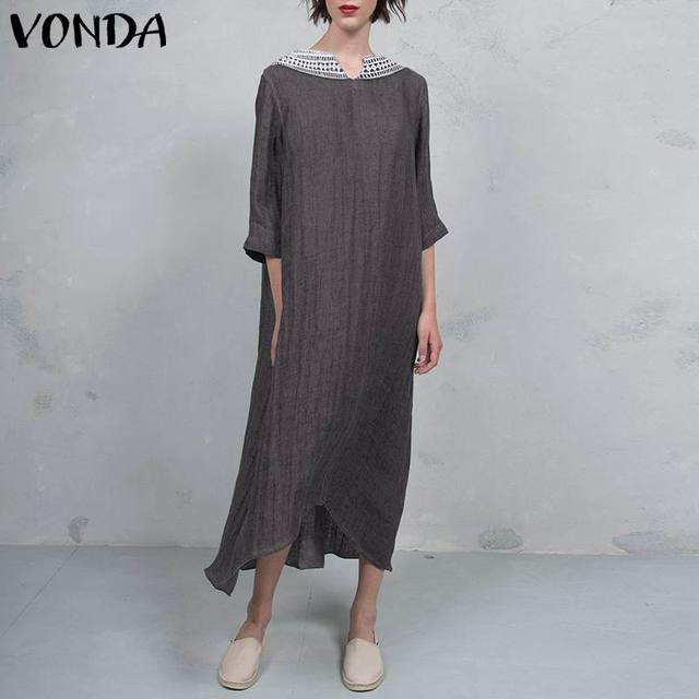 VONDA Women Vintage Cotton Dress 2019 Autumn Sexy V Neck Lace Crochet Backless Party Long Dresses Casual Vestido Plus Size 5XL