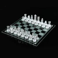Two Size K9 Chess Game Glass Set With Chessboard 32pcs Chess Medium Wrestling Game International Crystal Mirror Chess Board
