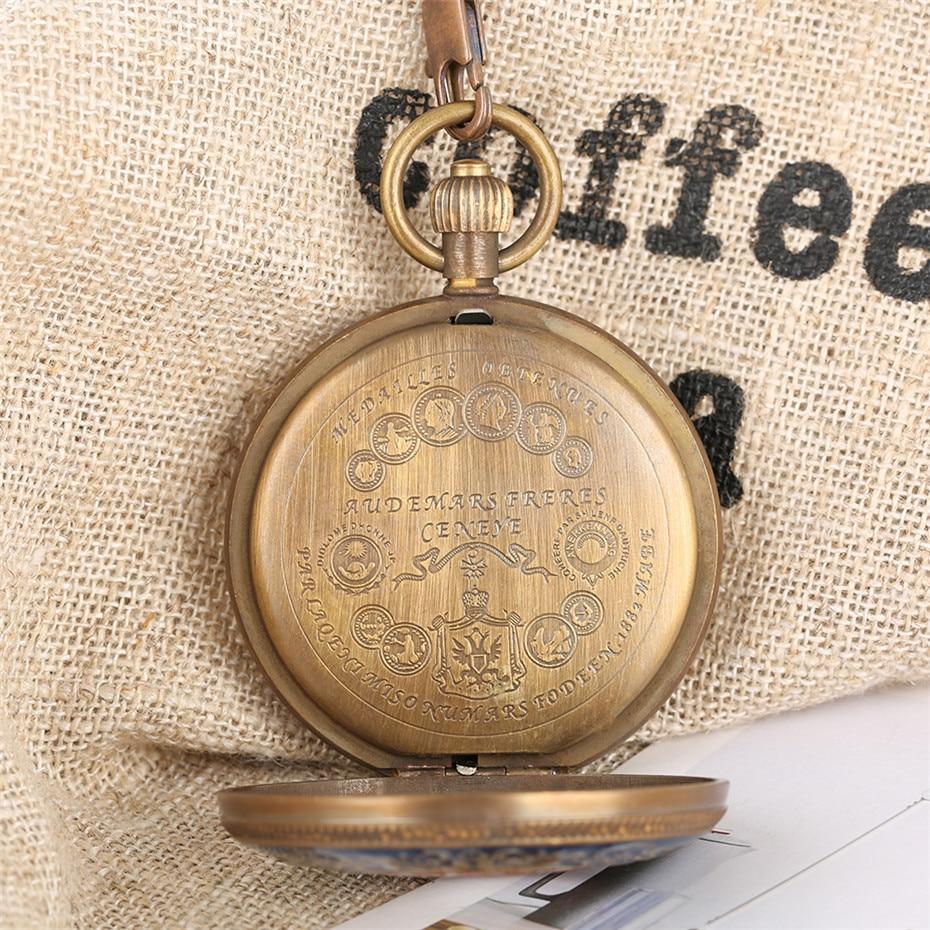 Купить с кэшбэком Mechanical Pocket Watch Men Pure Copper Half Double Hunters Tourbillon Self Winding Pendant Watch with 30 cm Fob Chain